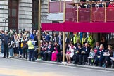 The Lord Mayor's Show 2011: Guests and television crews next to/on/below the balcony in front of Mansion House.. Opposite Mansion House, City of London, London, -, United Kingdom, on 12 November 2011 at 10:39, image #9