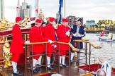 Lord Mayor's Show 2013: Thames Watermen on board of Gloriana, the barge built for The Queen's Diamond Jubilee, getting ready to row the Lord Mayor from Westminster to the City. Photo by Mike Garland..     on 09 November 2013 at 08:18, image #2