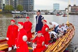 Lord Mayor's Show 2013: Thames Watermen on board of Gloriana, the barge built for The Queen's Diamond Jubilee, getting ready to row the Lord Mayor from Westminster to the City. Photo by Mike Garland..     on 09 November 2013 at 08:22, image #5