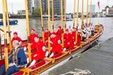 Lord Mayor's Show 2013: Thames Watermen on board of Gloriana, the barge built for The Queen's Diamond Jubilee, ready to row the Lord Mayor from Westminster to the City. Photo by Mike Garland..     on 09 November 2013 at 08:35, image #8