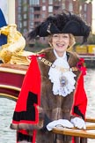 Lord Mayor's Show 2013: The Lord Mayor and Admiral of the Port of London, Alderman Fiona Woolf, on board of The Queen's Row Barge Gloriana. Photo by Mike Garland..     on 09 November 2013 at 08:37, image #10