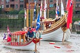 Lord Mayor's Show 2013: The Queen's Row Barge Gloriana leading the Lord Mayor's flotilla down the Thames from Westminster to the City. Photo by Mike Garland..     on 09 November 2013 at 08:40, image #13
